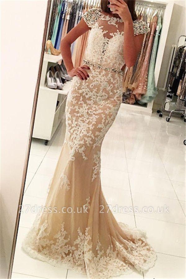 Modern Appliques Scoop Neck Cap Sleeves Elegant Mermaid Prom Dress UK UK