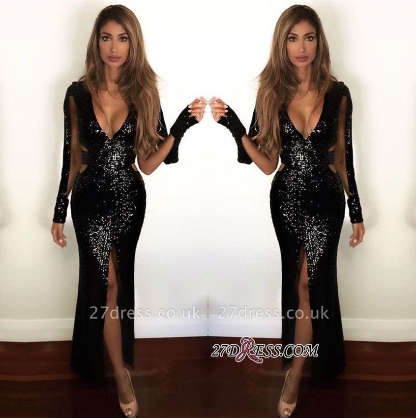Black Sequined Prom Dress UK | Long-Sleeve Evening Gowns BA9892