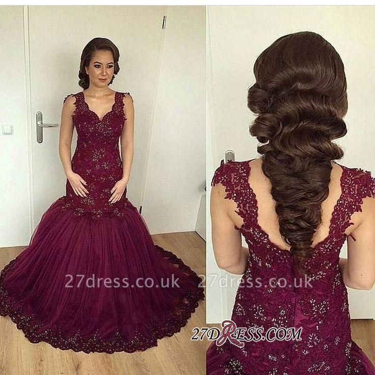 V-neck Beaded Lace Sheath Burgundy Puffy Straps Appliques Tulle Evening Gown