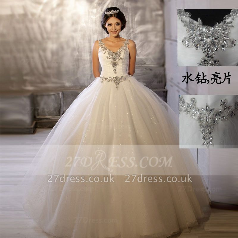 Floor-length Straps Elegant Ball Gown Wedding Dresses UK Sleeveless Beads Sequins Zipper Fashion Bridal Gowns