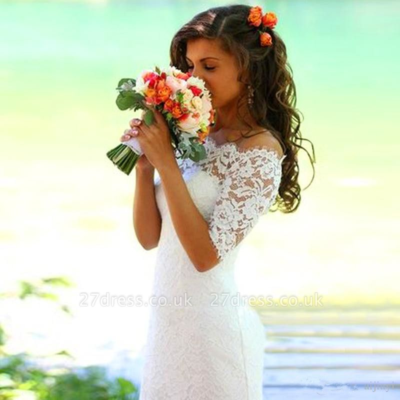 Modern Off-the-shoulder Half-sleeve Sexy Mermaid Wedding Dress With Lace