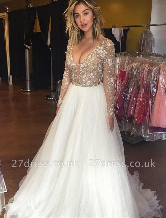 Beautiful long Sleeve Prom Dress UKes UK Beadings Tulle Appliques BA3219