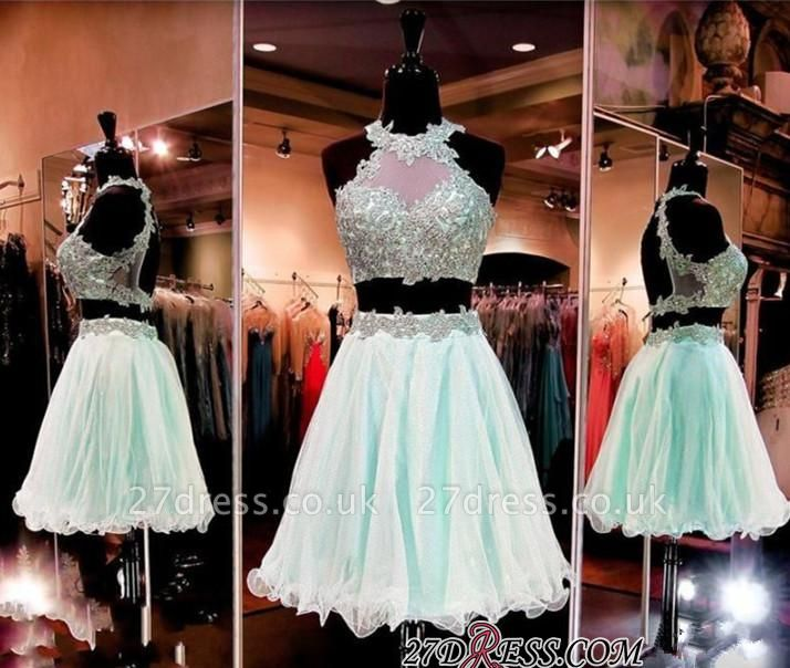 Halter Two-Pieces Sleeveless Short Popular Appliques Homecoming Dress UK