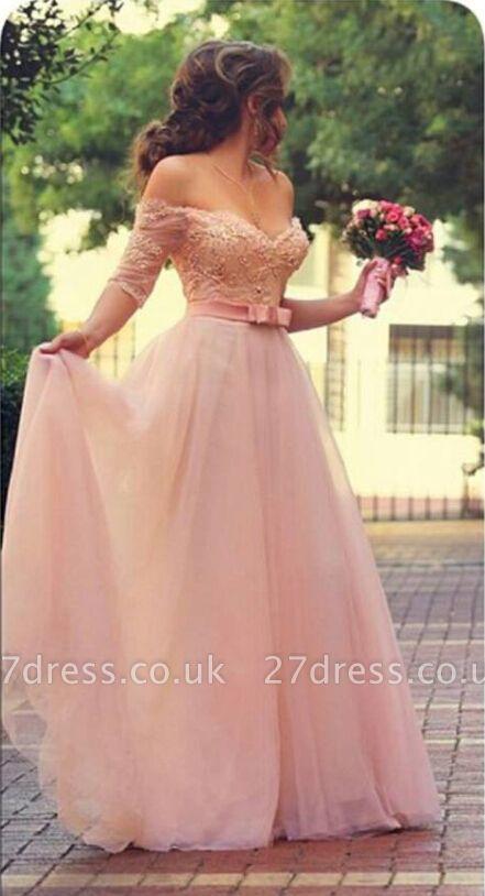 Lovely Princess Beadings Tulle Half Sleeves Long Prom Dress UK