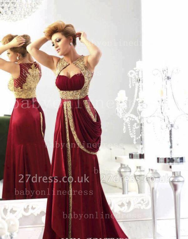 Wholesale Arabic Elegant Chiffon Evening Dress UKes UK Sweetheart Burgundy Gold Crystals Prom Dress UK with Embroidery