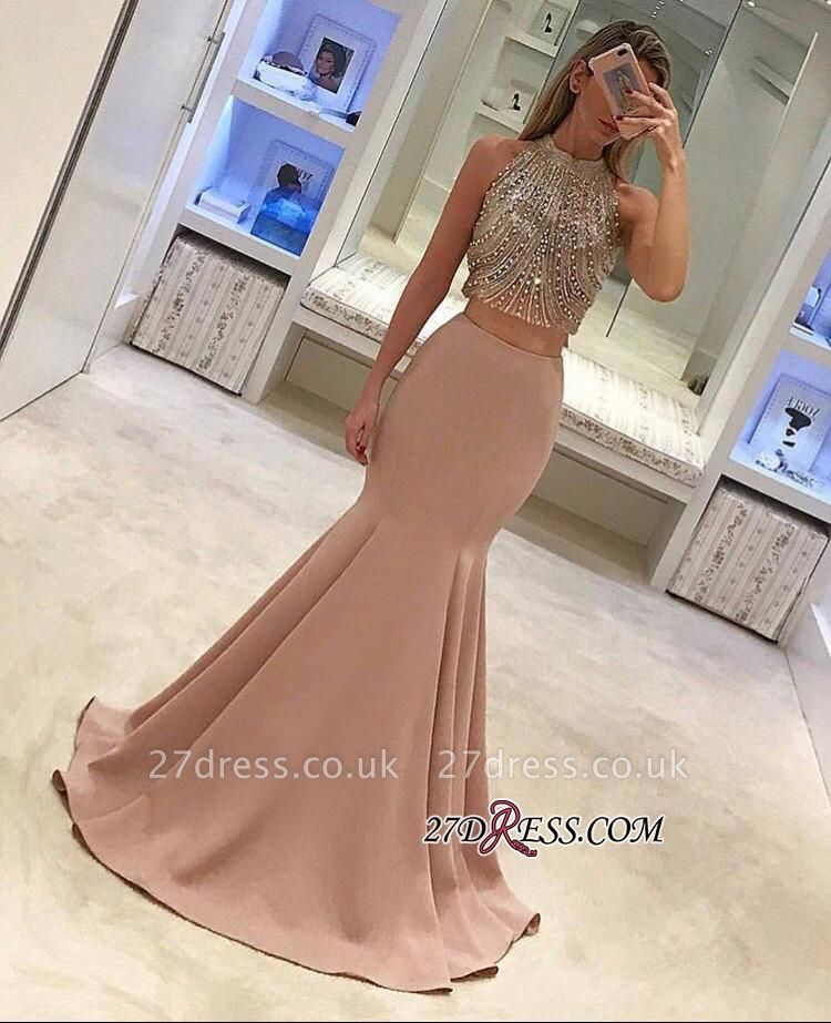 Two-Piece Beads Sleeveless Mermaid Luxury Prom Dress UK BA4523