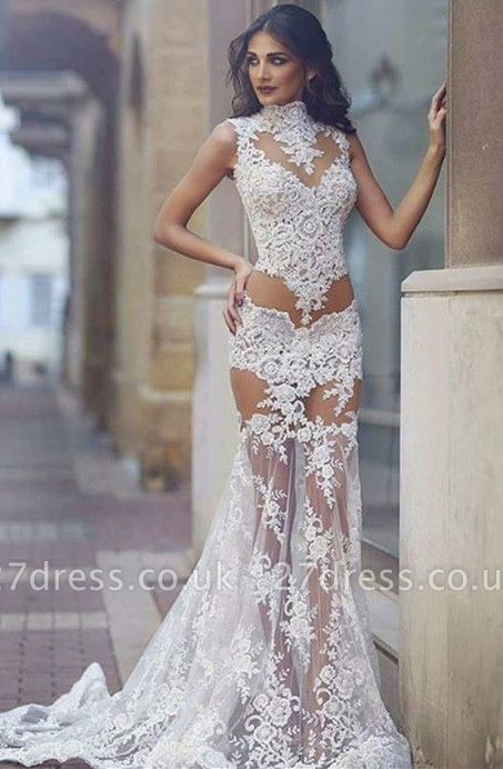 Elegant Lace Prom Dress UK   Mermaid Sheer-Skirt Party Gowns