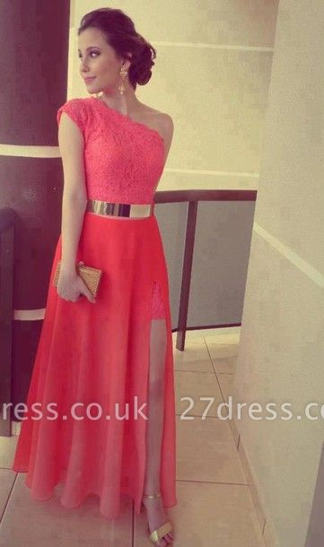 Modern One-shoulder Chiffon Prom Dress UK With Lace Front Split