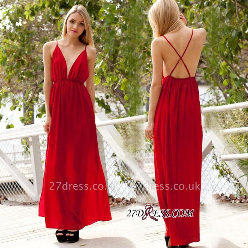 A-line Sleeveless Backless Spaghetti-Strap Elegant V-neck Evening Dress UK