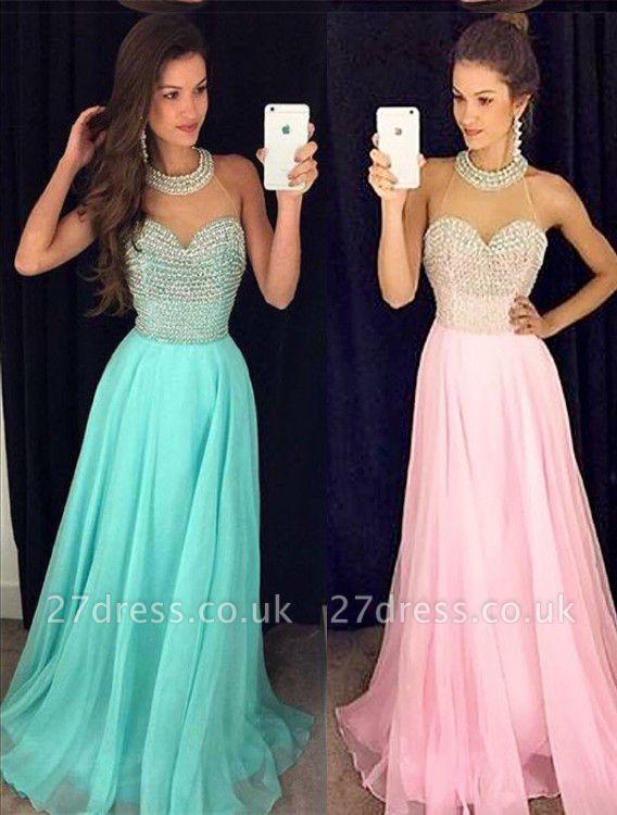 Timeless Beads High-Neck Long Prom Dress UK Chiffon Sleeveless Party Gowns AP0