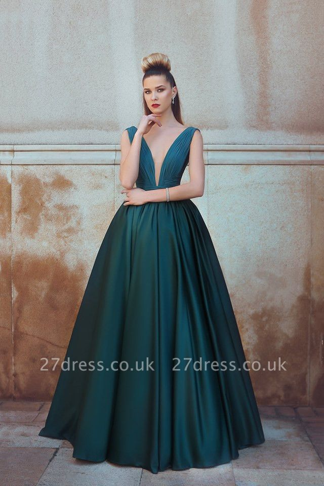 Sexy Long V-neck Sleeveless Evening Dress UK Floor Length BA7279