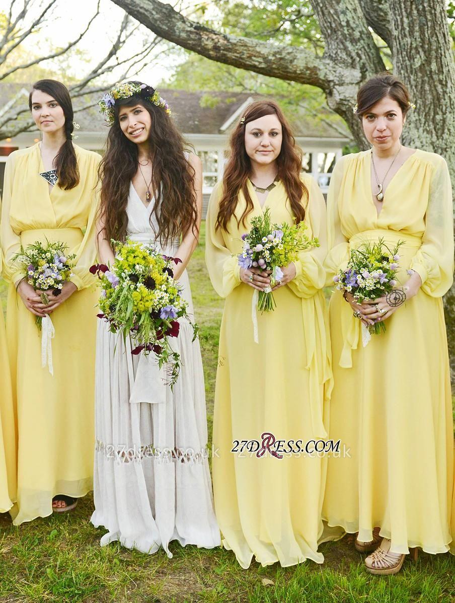 Chiffon Chic Long-Sleeve V-Neck Yellow Bridesmaid Dress UK
