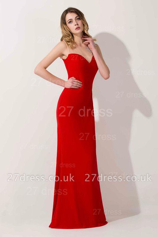 Elegant Mermaid Red Illusion Evening Dress UK Crystals Floor-length
