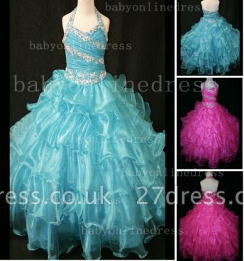 Beaded Sexy Girls Pageant Dresses for Sale Inexpensive Crystal Floor-length Organza Gowns Online