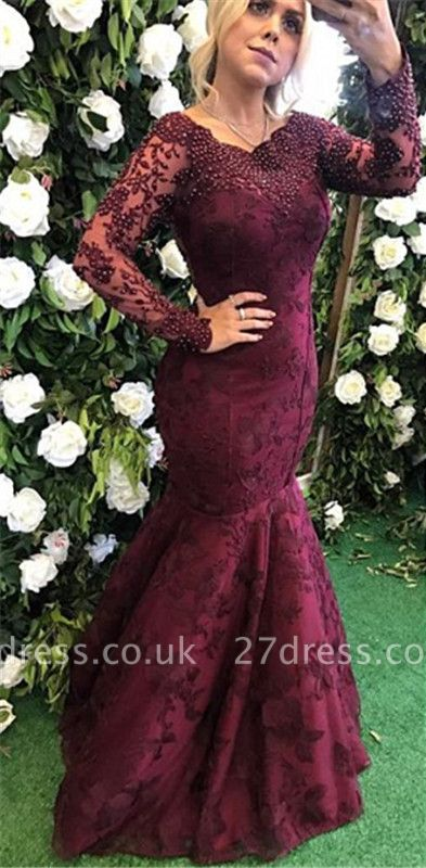 Sexy Long Sleeve Burgundy Evening Dress UK Mermaid Lace Appliques BMT