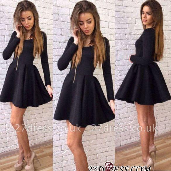 Black A-line Elegant Short Long-Sleeves Homecoming Dress UKes UK