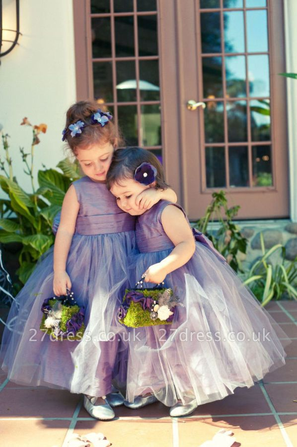 Newest Tulle Jewel Flower Girl Dress Sleeveless Floor-length