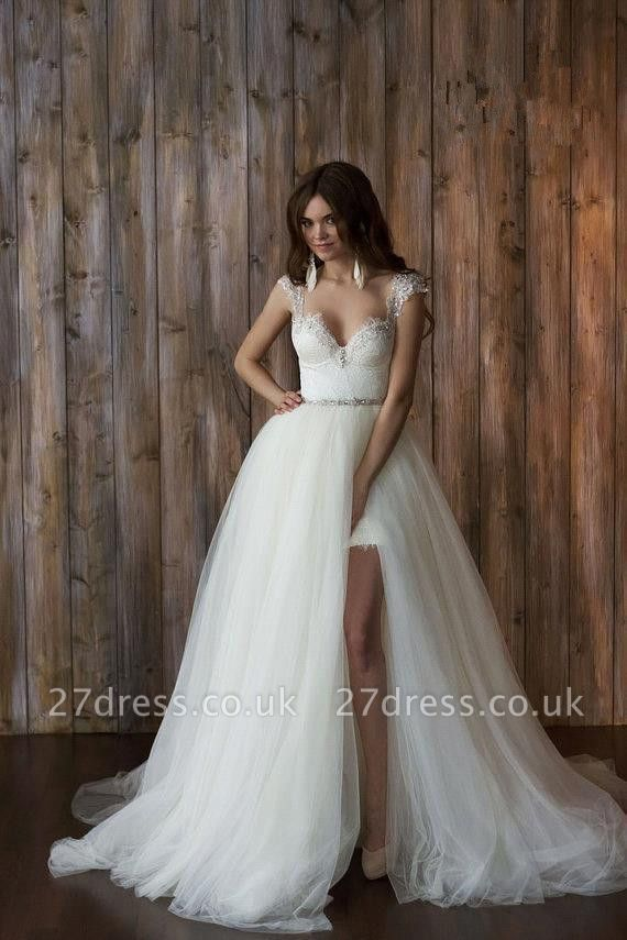 Elegant Cap Sleeve Lace Wedding Dress Tulle Detachable
