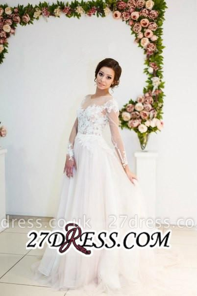 Zipper Elegant Long-Sleeve Button Sweep-Train Appliques A-line Lace Wedding Dress