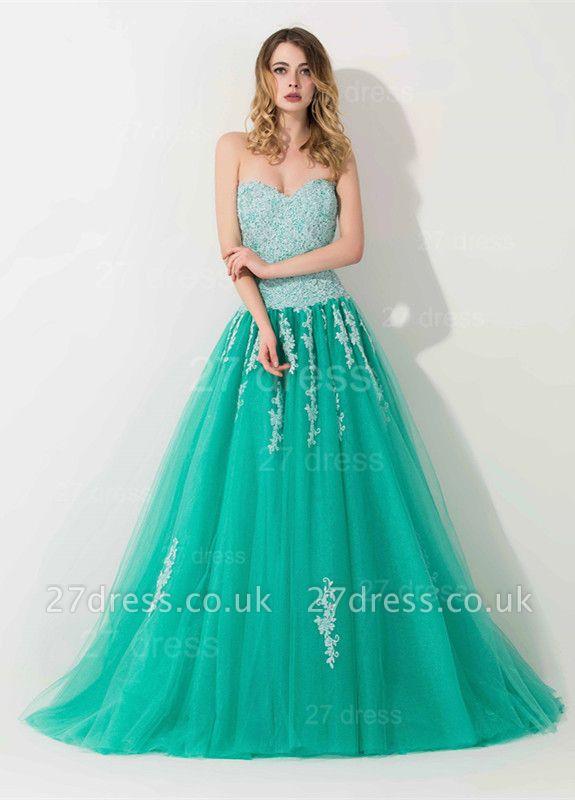 Modern Sweep Train Lace Appliques Evening Dress UK Princess Tulle Sleeveless