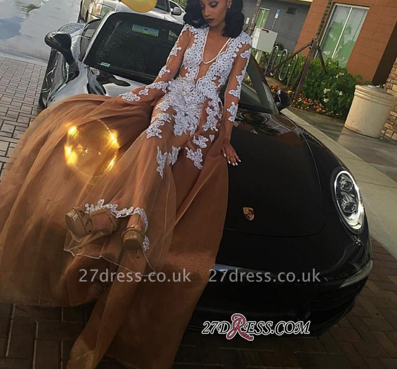 Lace-Appliques Long-Sleeve V-neck Newest A-line Evening Dress UK BK0