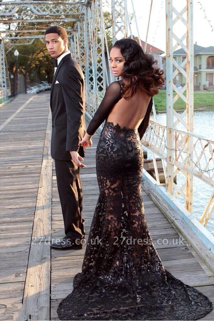 Elegant Black Long Sleeve Appliques Evening Dress UK Open Back With Train BK0