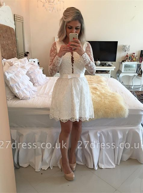 Newest Lace Appliques Mini Homecoming Dress UK Bow Long Sleeve BA6841