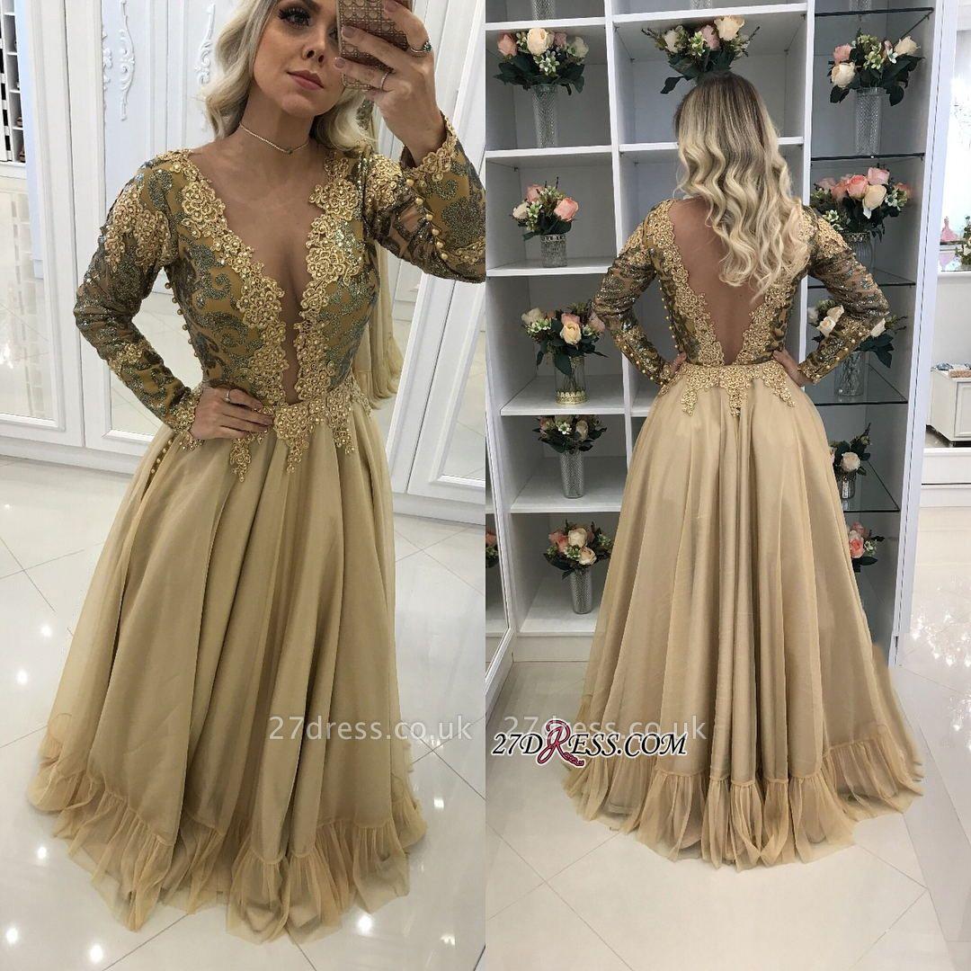 prom Dress UK with gold appliques, long sleeves evening Dress UKes UK