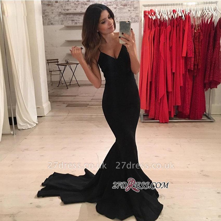 Elegant Spaghetti-Strap Black V-Neck Mermaid Prom Dress UK BA5230