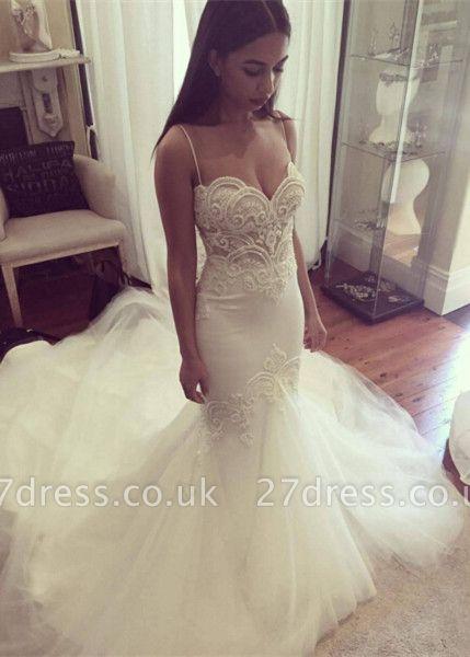 Delicate Tulle Lace Spaghetti Strap Wedding Dress Court Train