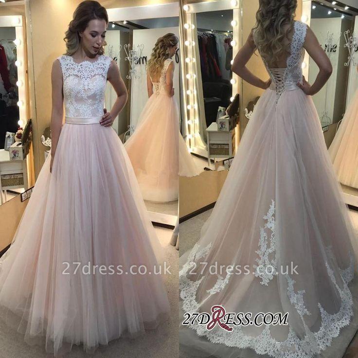 A-Line Lace Elegant Sleeveless Tulle Lace-up Wedding Dress