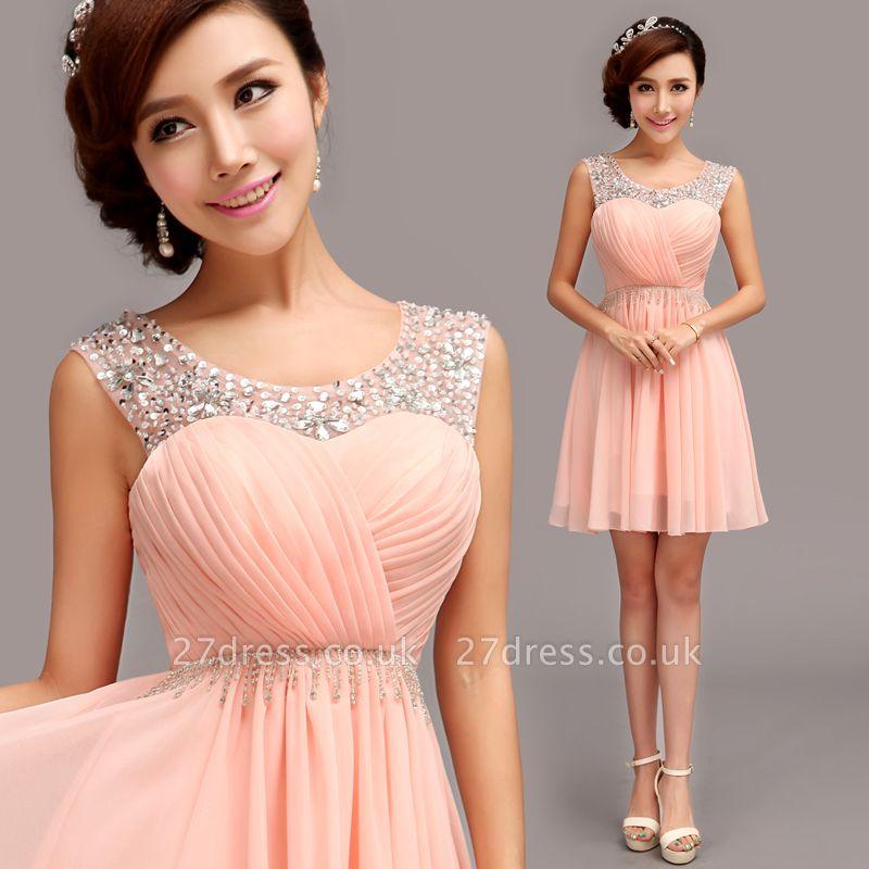 Gorgeous Sleeveless Short Chiffon Homecoming Dress UK With Beadings
