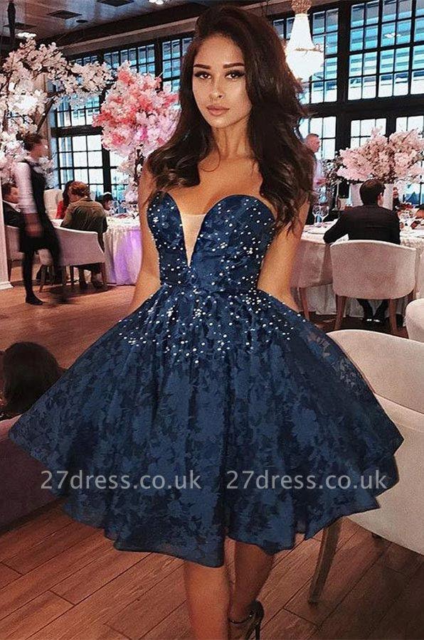 Sexy Sweetheart Lace Short Prom Dress UK | Homecoming Dress UK With Beads