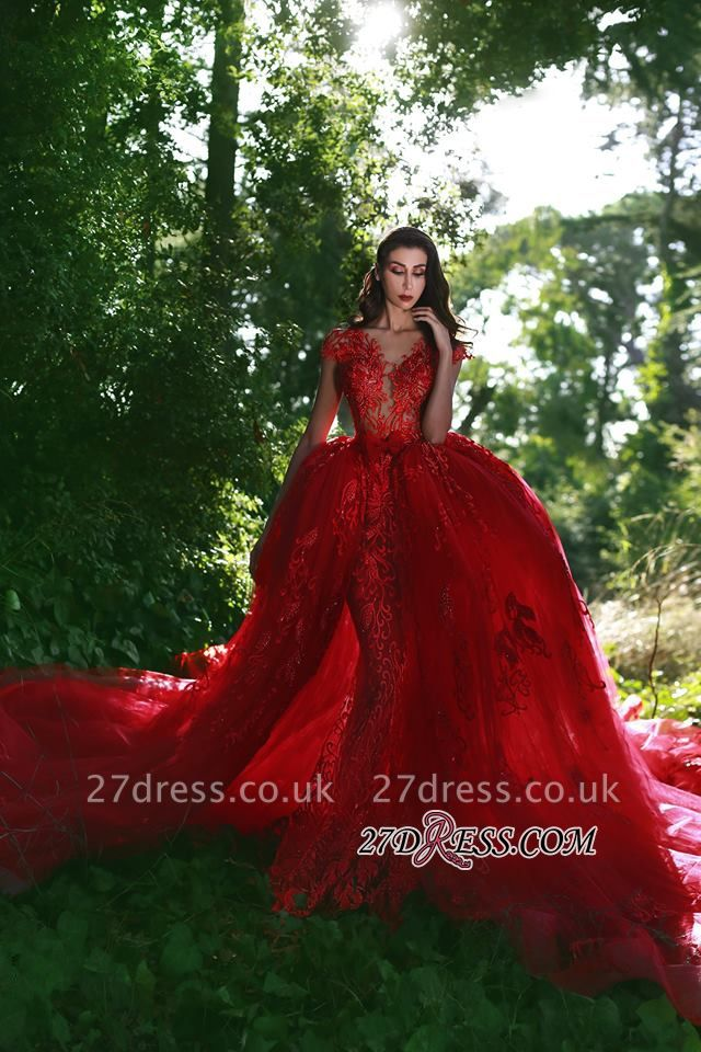 Luxurious Red Cap Sleeve Prom Dress UK Lace Appliques With Ruffles MH0