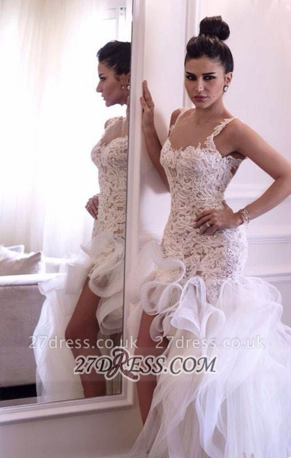 Scoop Neckline Sleeveless Hi-Lo Wedding Dress Open Back Lace Appliques Ruffles Bridal Gown
