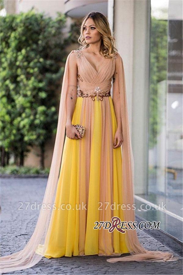 Ruffles yellow prom Dress UK, v-neck evening gowns