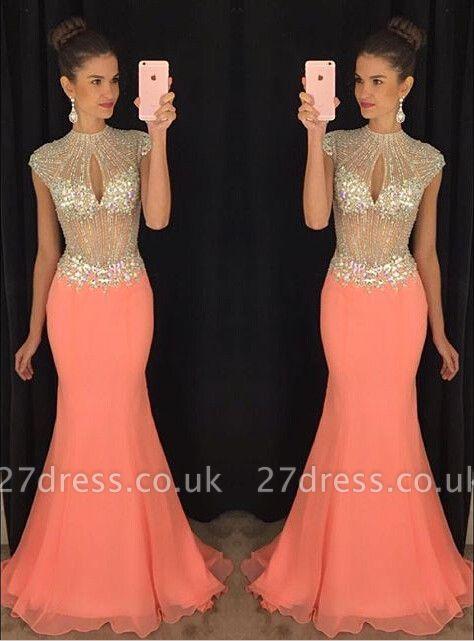 Stunning High-Neck Crystal Prom Dress UKes UK Mermaid Long Chiffon Party Gown TD036 AP0