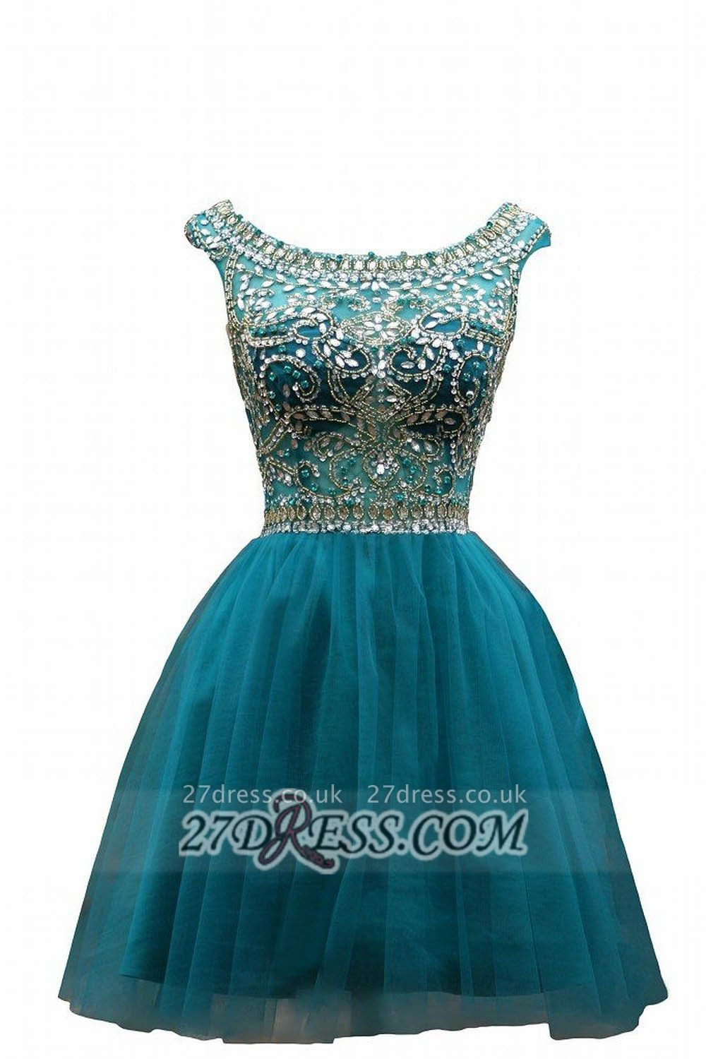 Sexy Scoop Cap Sleeve Cocktail Dress UK Crystals Tulle Short Homecoming Gown