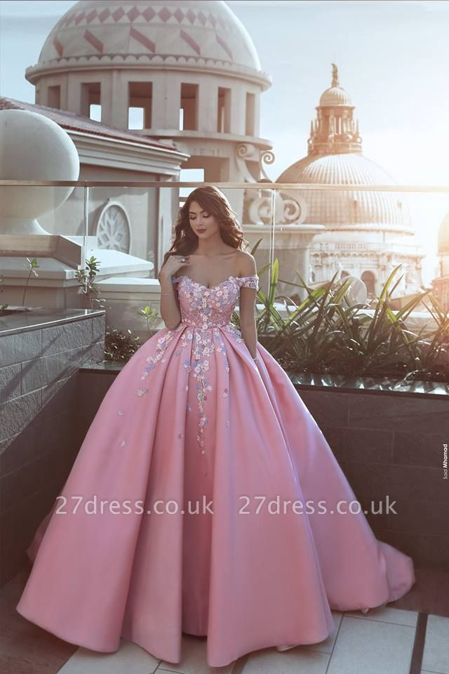 Gorgeous Off-the-Shoulder Princess candy Pink Evening Dress UK With Appliques BA7675