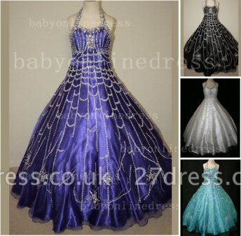 Flower Rhinestone Glitz Pageant Dresses for Girls Unique Wholesale Beaded Ball Gown Girls Dresses