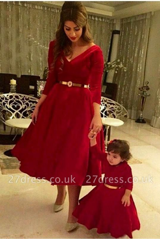 Dramtic 3/4-length-sleeve Red Mother And Daughter Dress UK Sash