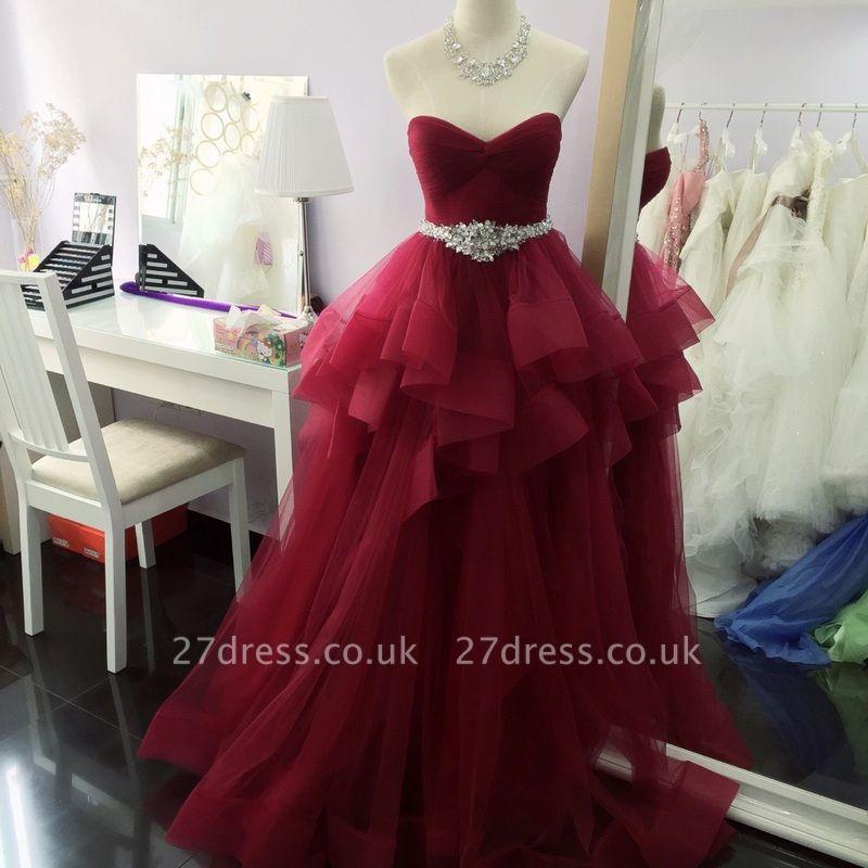 Luxury Sleeveless Ruffle Long Prom Dress UK