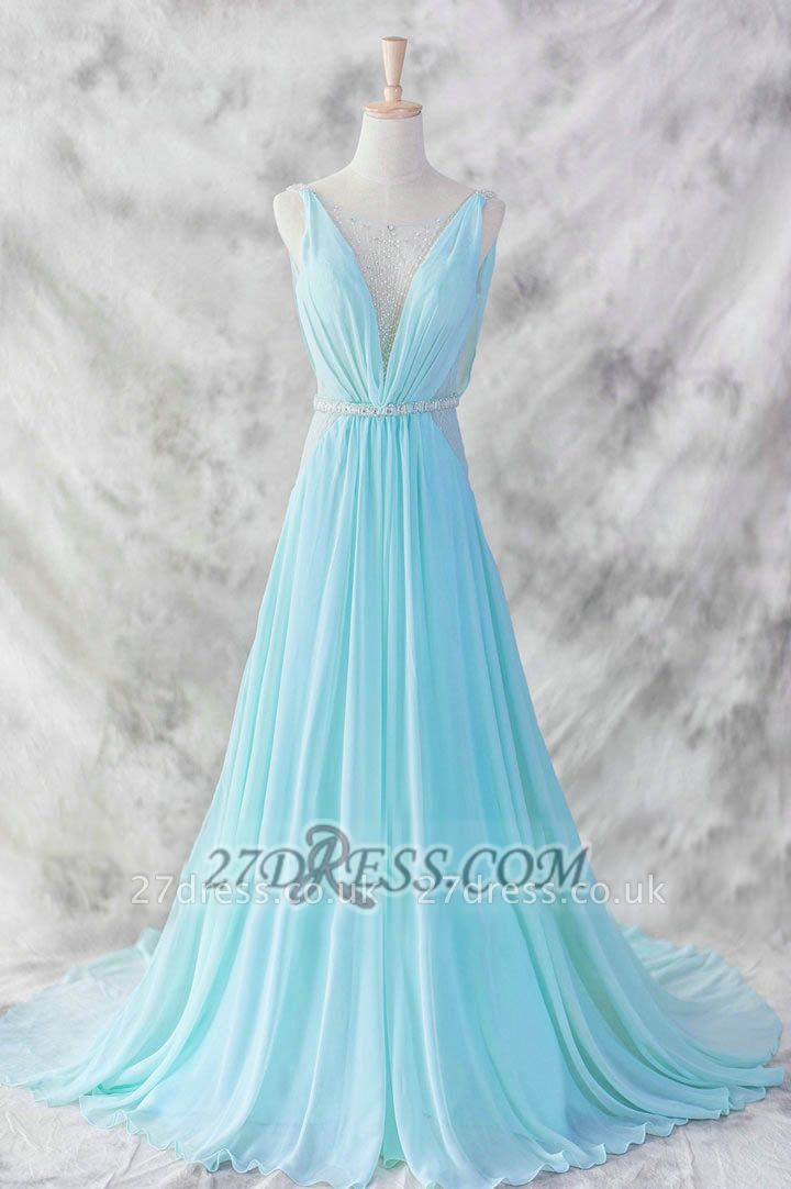 Sexy V-Neck Sleeveless Chiffon Evening Dress UK With Beadings Sequins Prom Gowns