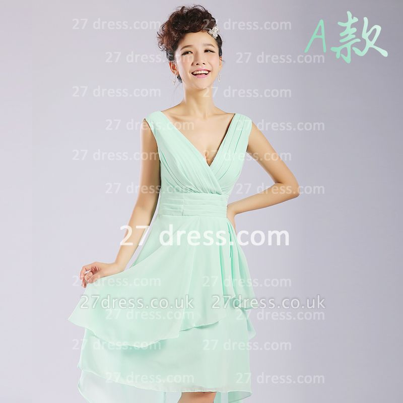 Bridesmaid Dress UKes UK,knee-length Prom Gown A-line 12 Styles Chiffon Ruffles