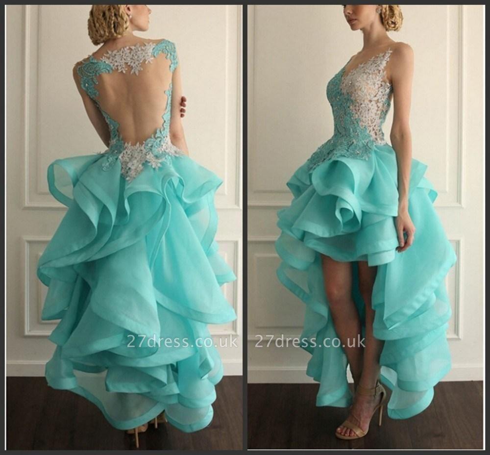 Elegant Hi-Lo Sleeveless Prom Dress UK With Appliques Ruffles