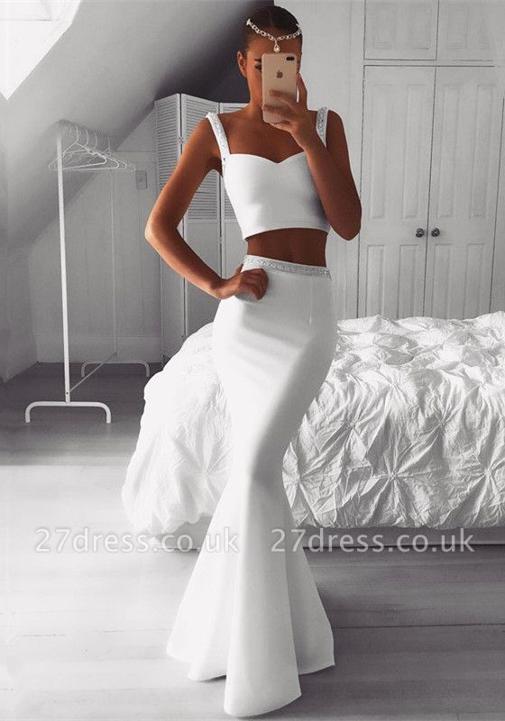 Luxury Two Pieces White Prom Dress UK | Mermaid Beadings Evening Gowns On Sale