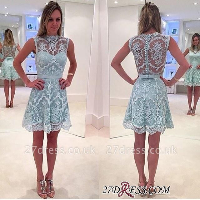 High-Neck Modern Sleeveless Lace Zipper A-line Mini Homecoming Dress UK