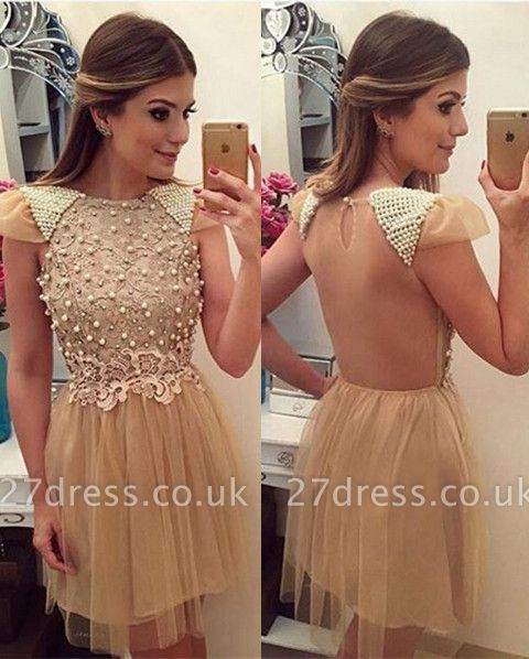 Newest Pearls Lace Appliques Cocktail Dress UK Short Cap Sleeve Tulle