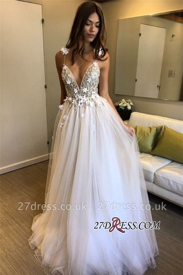 V-Neck A-line Appliques Evening Gowns | Sleeveless Prom Dress UK