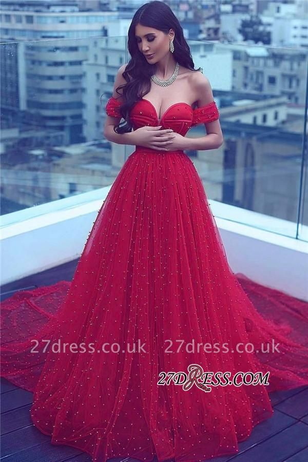 A-line Amazing Sweetheart Red Court-Train Off-the-shoulder Beading Evening Dress UK BA5178